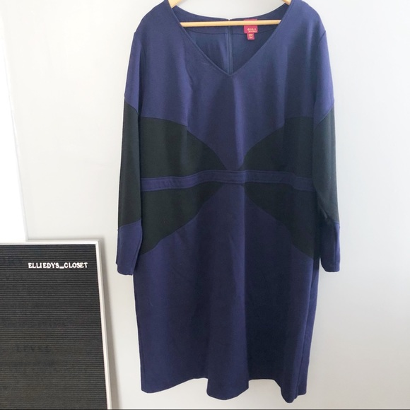 G.I.L.I Plus Size Two Toned Long Sleeve Dress